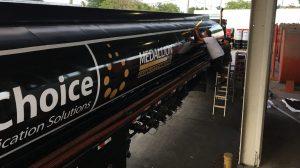Custom semi trailer wrap installation